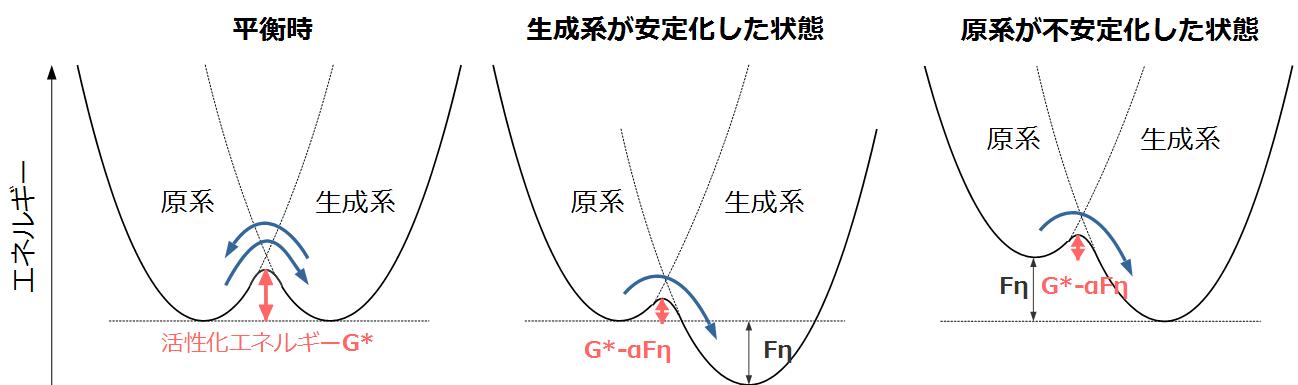 平衡状態と反応加速時のエネルギ図